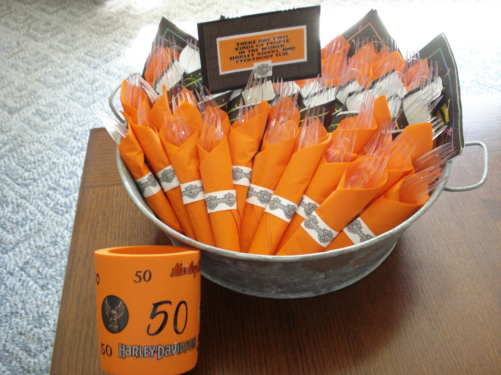 Our hobby house harley davidson 50th birthday party for Decoration goods