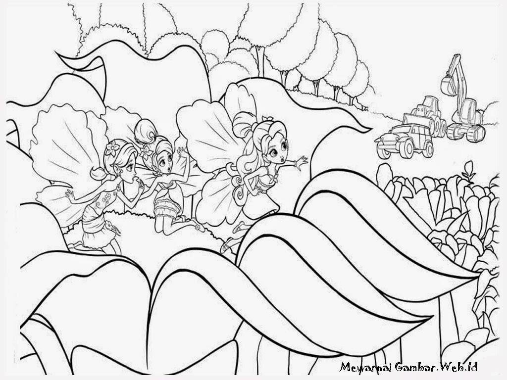 Gambar Mewarnai Barbie Thumbelina Bersembunyi diantara bunga-bunga
