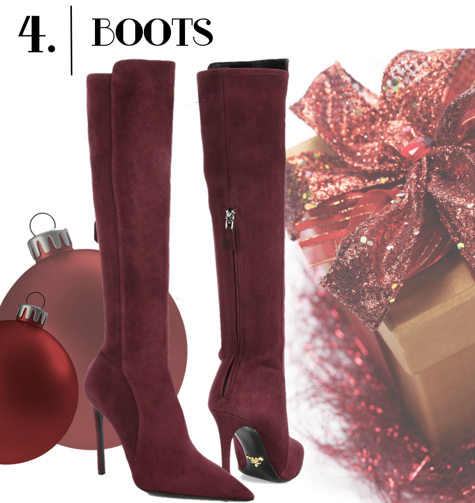 Prada Stretch Suede Knee-High Boots in Bordeaux