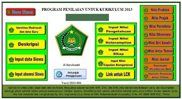 Download Aplikasi Nilai dan Raport MTs Kurikulum 2013 Terbaru