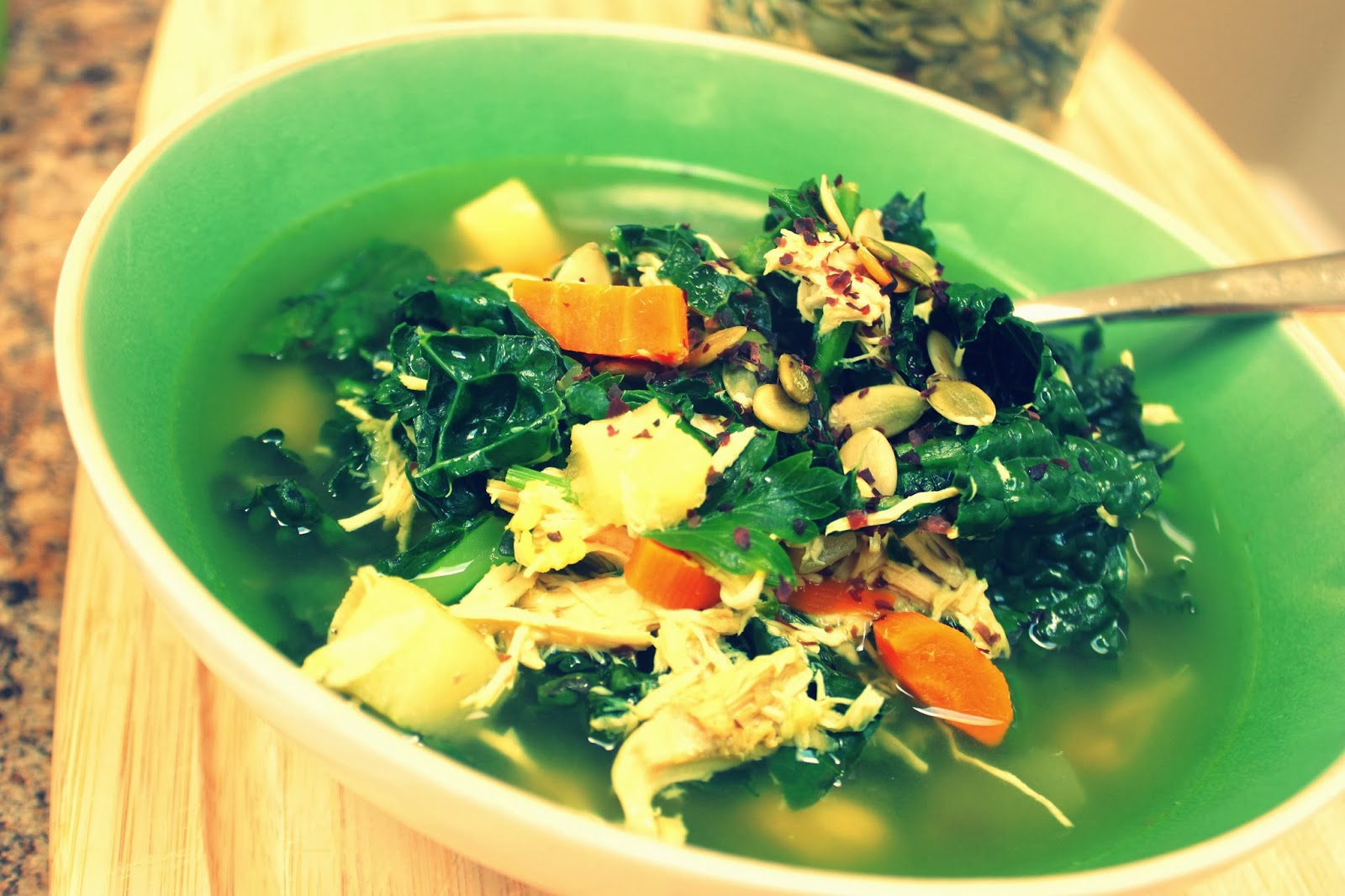chicken stock organic kale soup