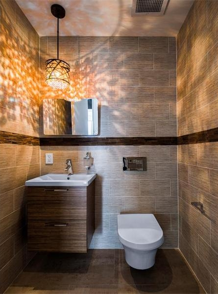 Photo of modern toilet area in the bathroom of Philadelphia penthouse