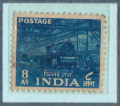8As. INDIA Chittaranjan Locomotive Works, India Postage Stamps with watermarks