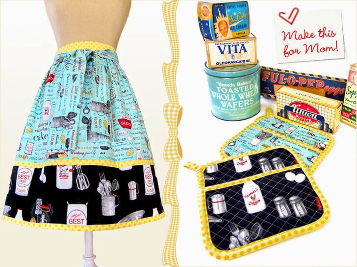 Retro Half Apron W/ Matching Hot Pads