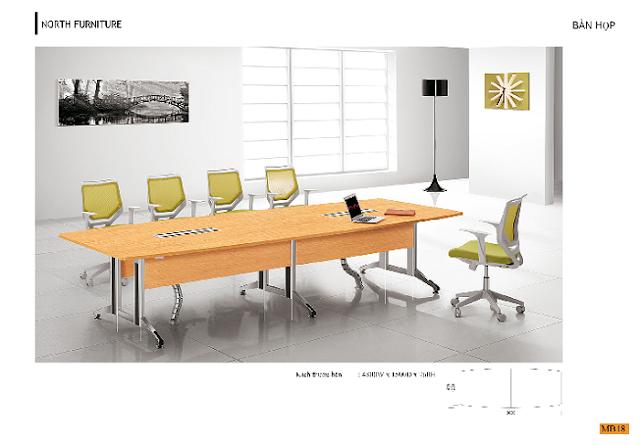 Bàn phòng họp nhóm có thiết kế nhỏ, đơn giản, có thể là bàn phòng họp laminate