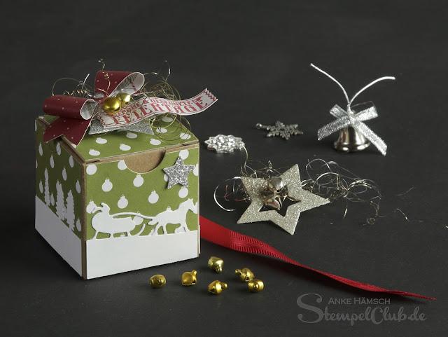 Stampinup, Geschenkschachteln, Weihnachten, Schlittenfahrt, Schleifenstanze