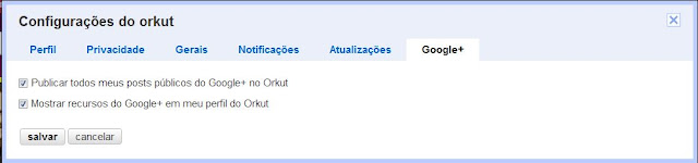 Configuração do Google+ no Orkut