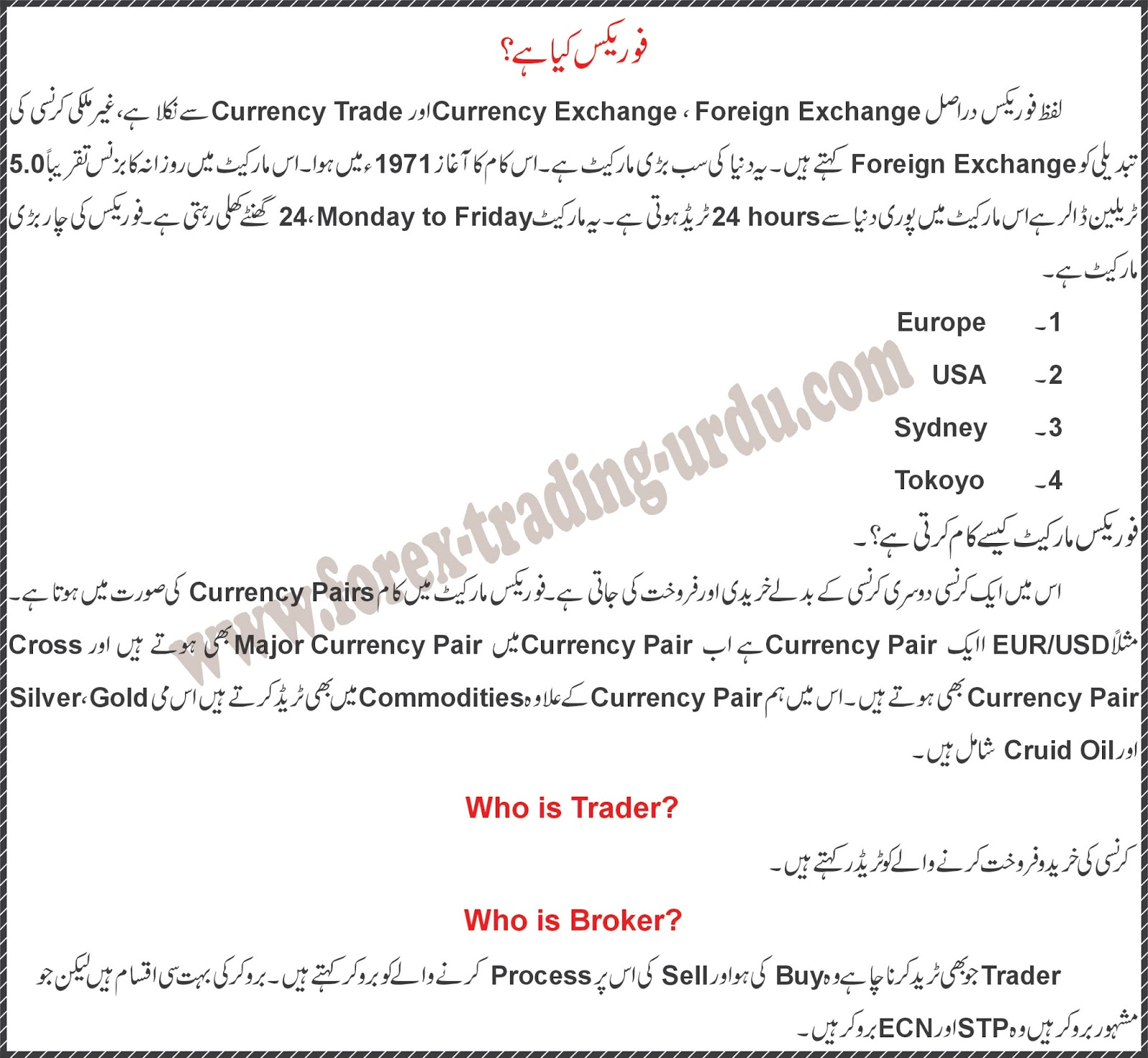 Forex in urdu