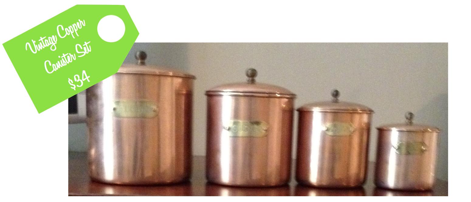 splash of lime second chance vintage copper canister set