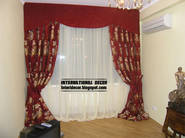 red curtains, Luxury red curtain patterned and red valance