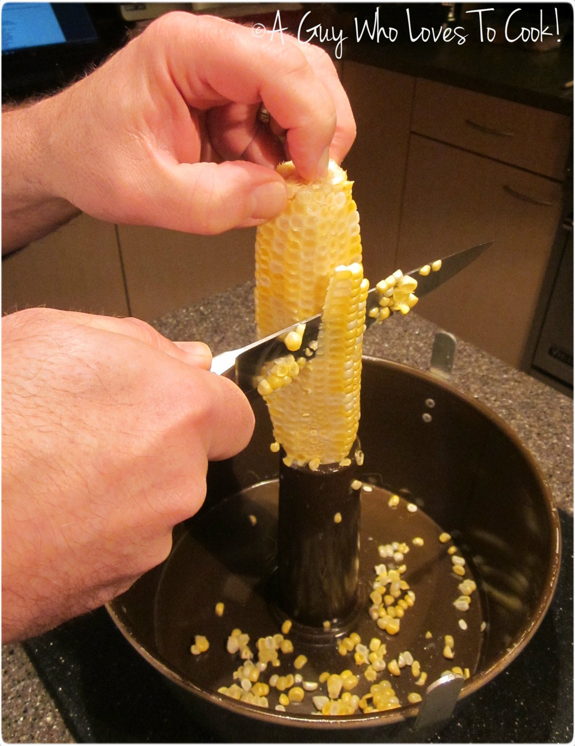 Shucking fresh corn