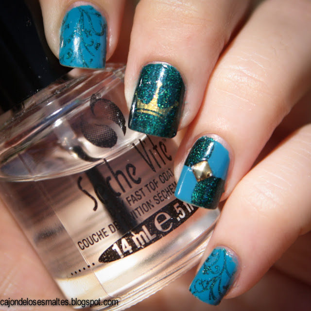 Medieval nail art Saint George - Aengland y Color Show - Shocking Seas
