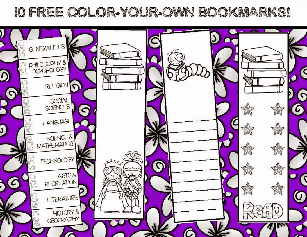 http://www.teacherspayteachers.com/Product/10-FREE-Color-Your-Own-Bookmarks-1313244