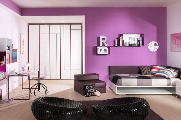 d coration chambre fille violet chambre de fille. Black Bedroom Furniture Sets. Home Design Ideas