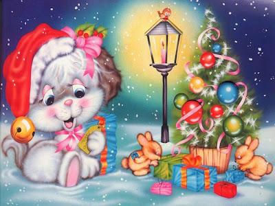Dibujos animados para Navidad con pinito y regalos con nieve