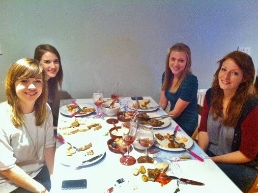 Girls enjoying Home made tapas