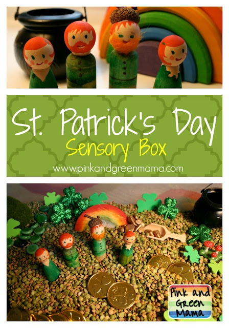 St. Patrick's Day Sensory Box. Click for more colorful #stpatrick sensory bins
