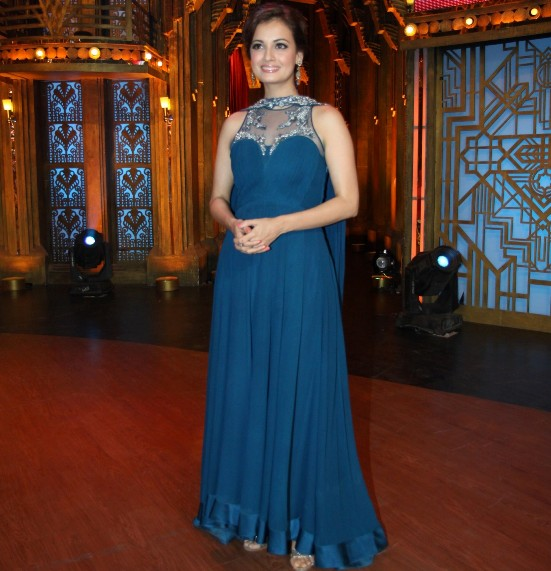 Diya Mirza in Blue Anarkali Dress