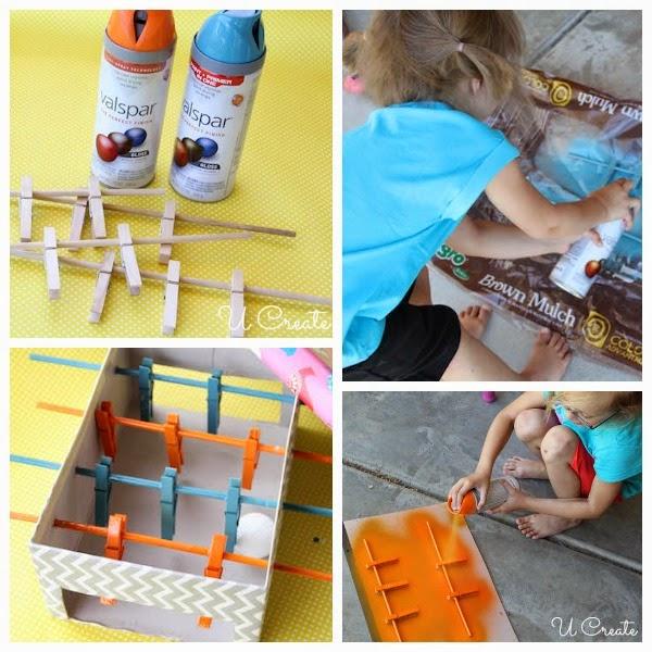 Mesa de Pebolim feita com caixa de sapato - PAP 08