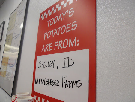 At 5Guys Burger place the potatoes came from Shelley, ID!