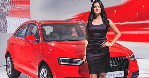 Actor Katrina Kaif poses with Audi's new SUV Q3