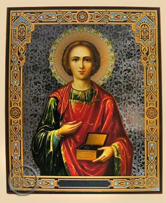 Imagen de San Pantaleon mostrando el cofre abierto.
