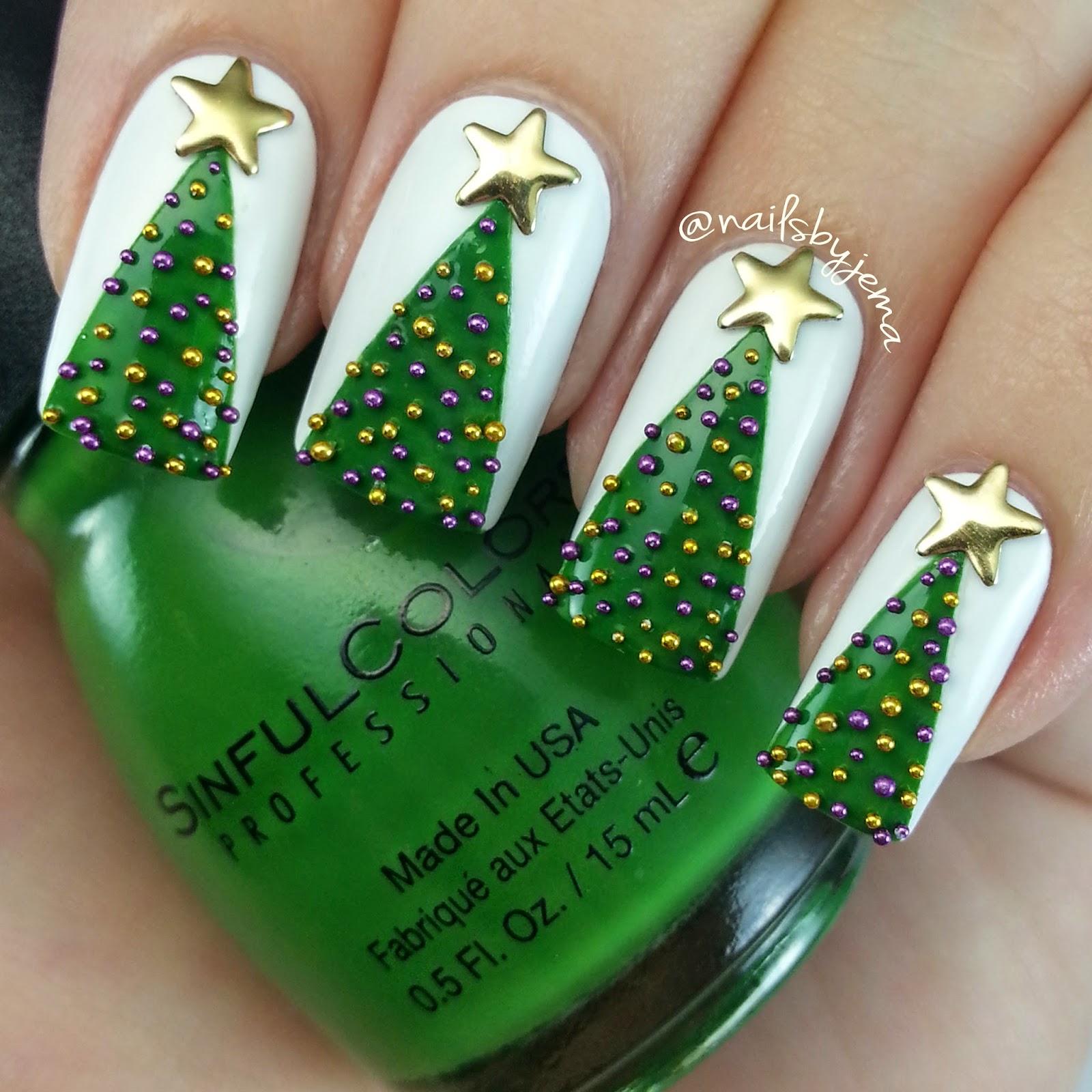N A I L S B Y J E M A: 3D Christmas Tree Nails & Video Tutorial