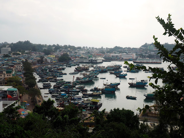 View of Cheung Chau village and boats in the harbour, Hong Kong