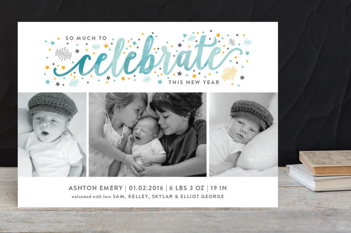 watercolor holiday card birth announcement