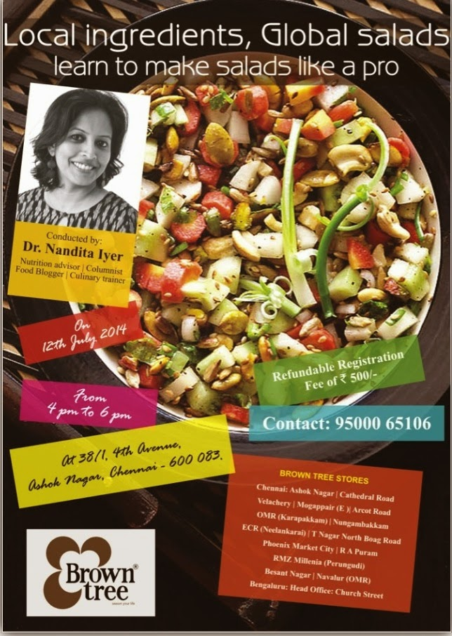 FORTHCOMING WORKSHOPS (CLICK ON THE PIC FOR DETAILS):  ZESTY SALADS-CHENNAI