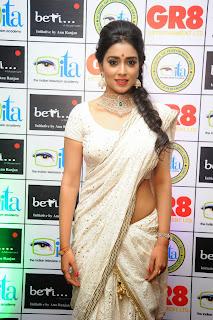 Shriya Saran  Pictures in White Saree at GR8! Women Awards 2014 ~ Celebs Next