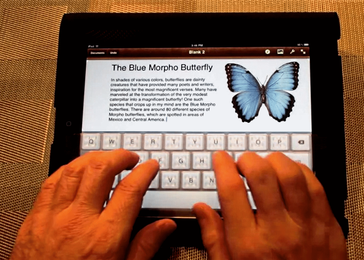 touch typing on the iPad.