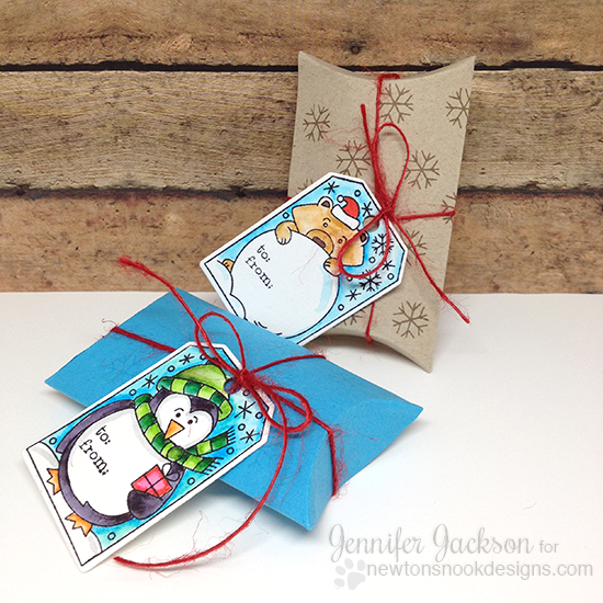 Pillow boxes with tags by Jennifer Jackson | Jolly Tags Stamp set by Newton's Nook Designs #newtonsnook