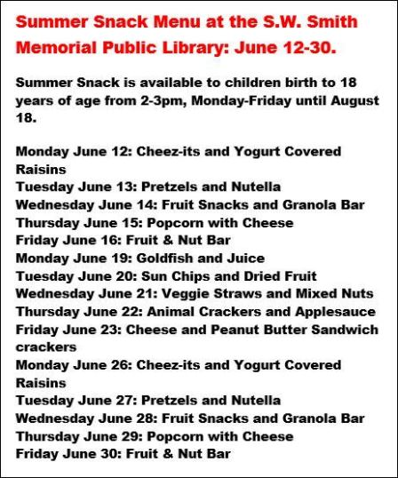 6-2017 Summer Snack Menu S.W. Smith