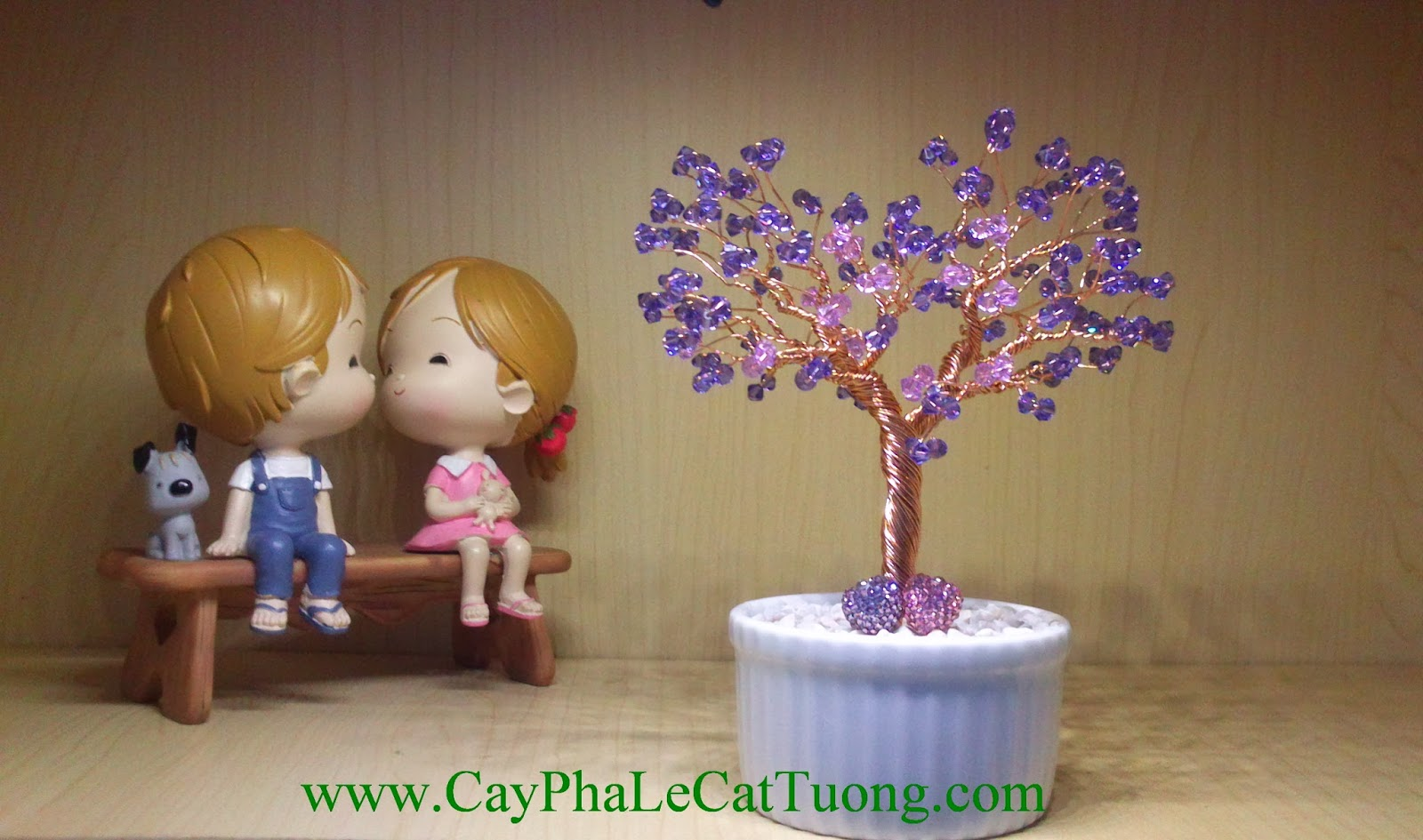 Cây pha lê trái tim màu tím - CayPhaLe.com