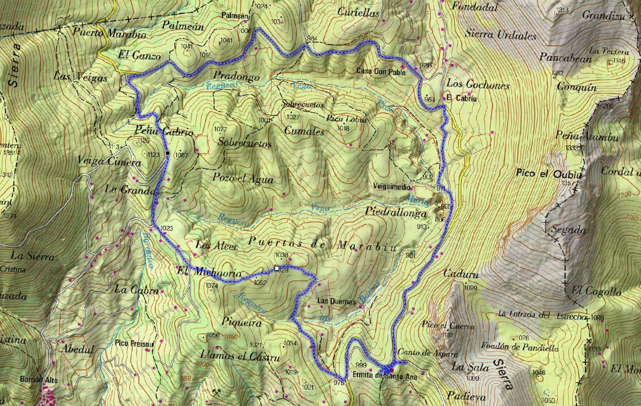 Mapa 2 topográfico de la Ruta de Los Puertos de Marabio