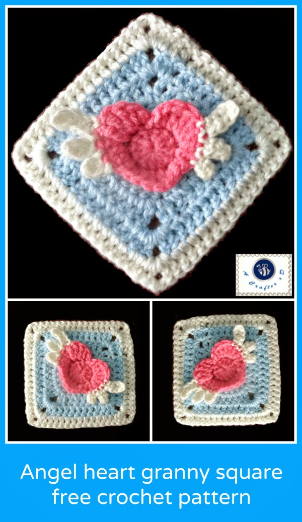 crochet winged heart granny square, crochet angel heart, heart granny square