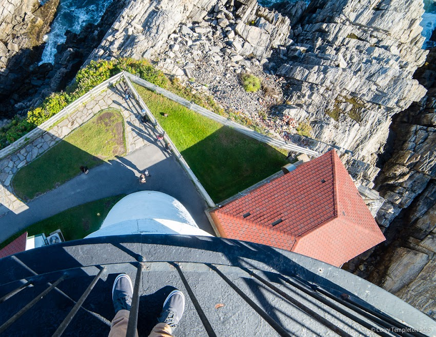 Looking straight down from the top of the iconic Portland Head Light. The lighthouse was first lit in 1791, making it the state's oldest. October 2015 Greater Portland, Maine USA Photo by Corey Templeton.