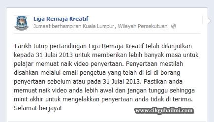 Liga Remaja Kreatif 2013 Dilanjutkan