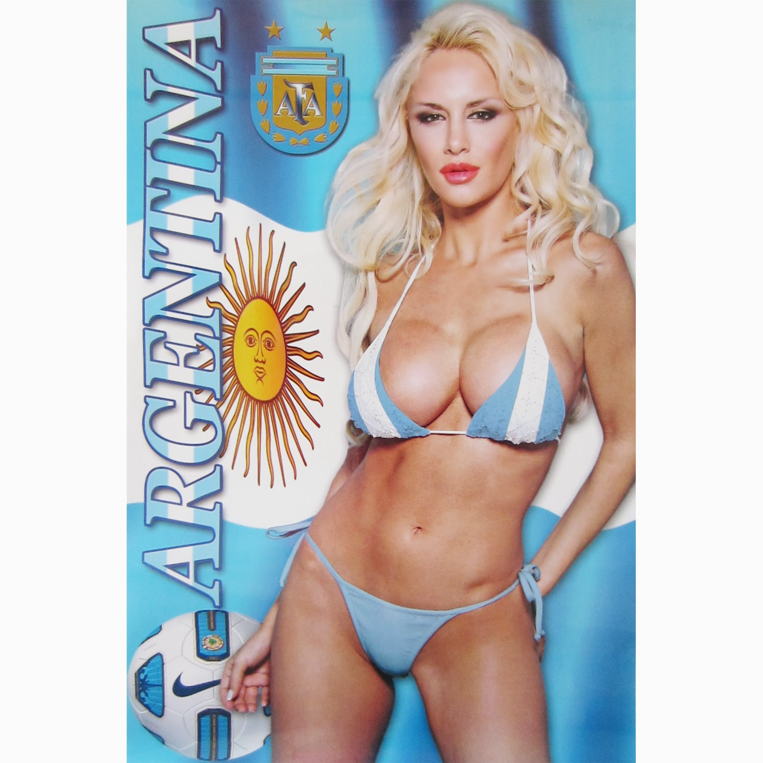 Argentina Sexy Football Fan With Flag