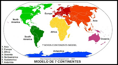 Mapamundi, modelo de 7 continentes