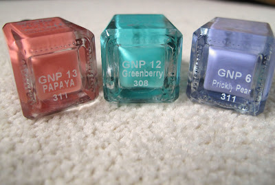 Picture of Barry M Gelly Hi Shine Nail Paint in Papaya, Greenberry and Prickly Pear