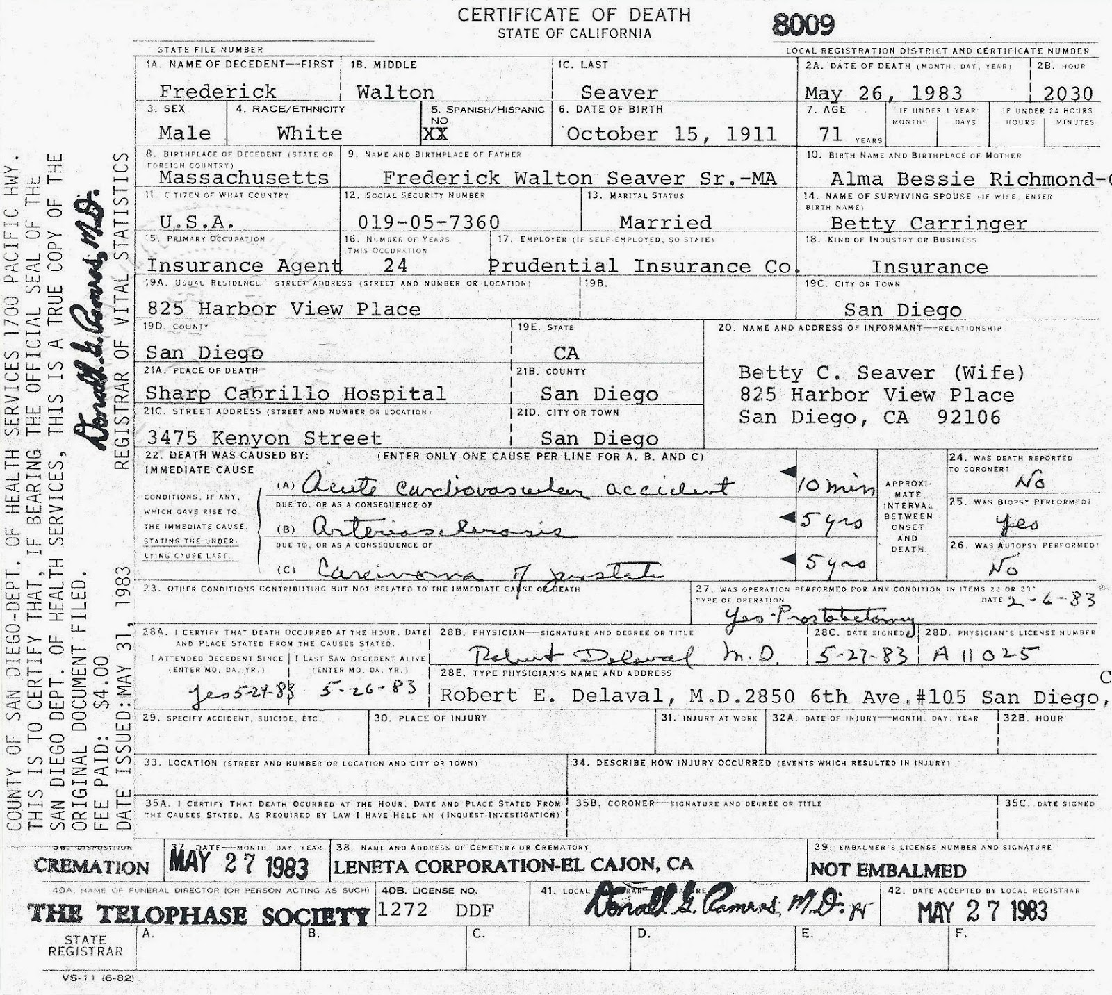Genea musings 122213 the transcription of this death certificate is form fields underlined handwritten portions in italics xflitez Gallery