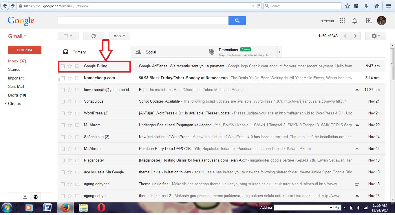 Email Pembayaran dari google Adsense