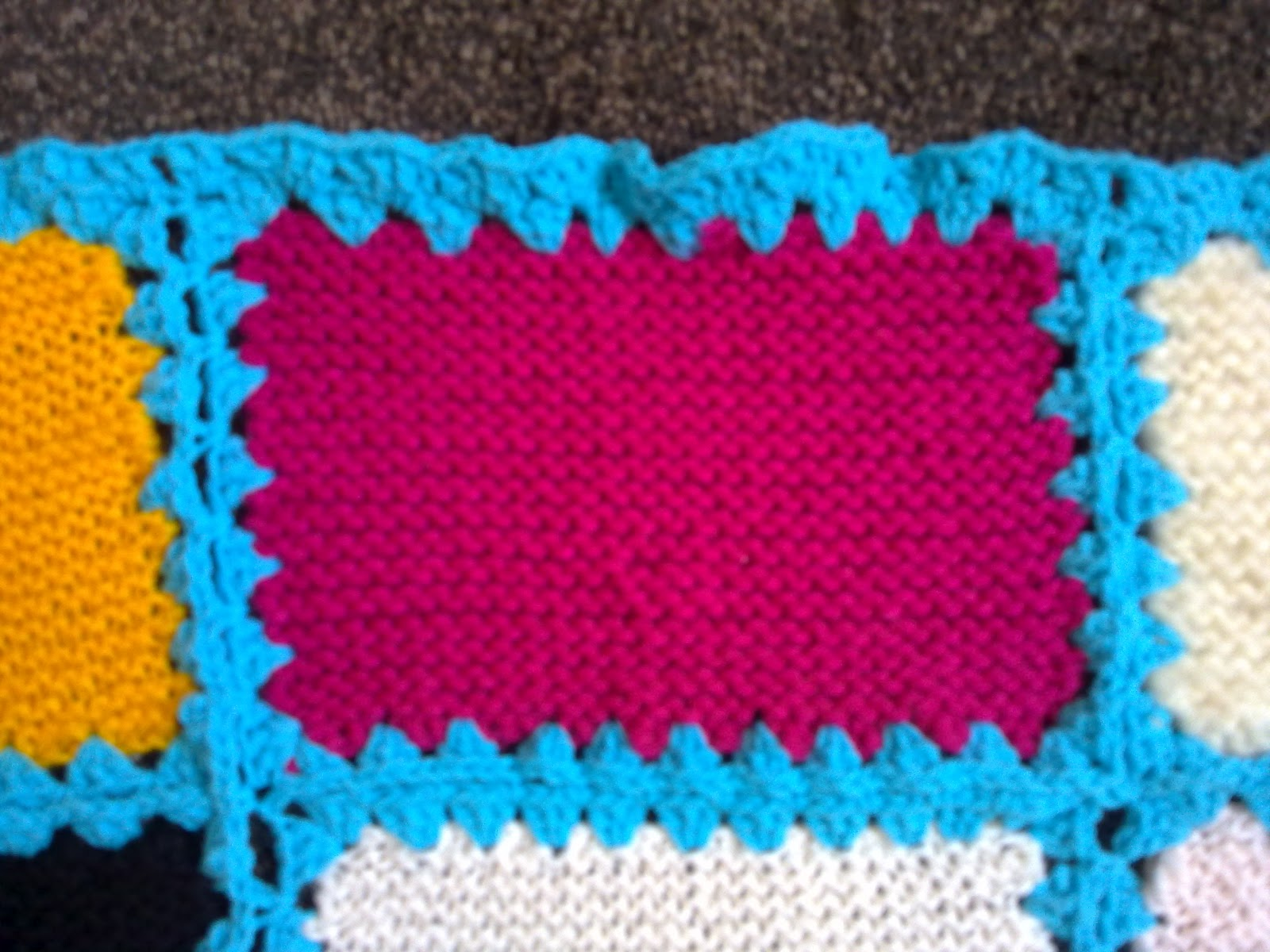 Blanket Stitch Knitted Squares Together : Mums Simply Living Blog: Crocheting knitted squares together
