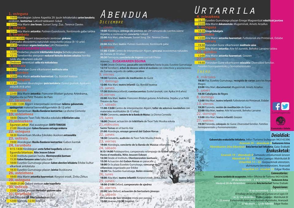 Zumaiako ABENDUKO agenda.