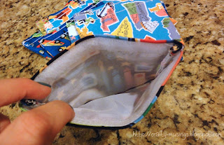 inside view of finished snack bag, showing off the exciting French seam
