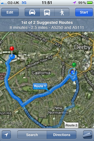 iPhone mapping route to TK Maxx store in Kingsway Derby.