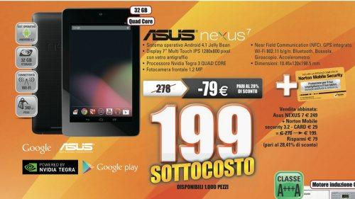 Per 8 maggio 2013 prezzo sottocosto per il Google Nexus 7 a 199 euro, tablet quad core tegra 3 jelly bean