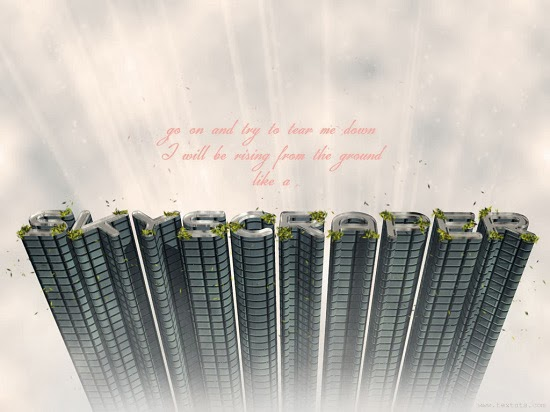 Effect Text 3D Gedung Pencakar Langit